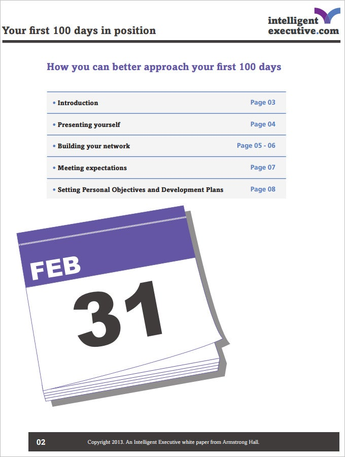 sample 100 days plan template free download