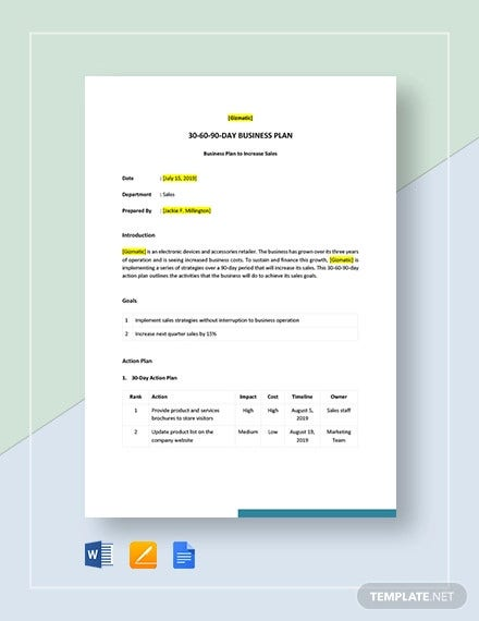 sample 30 60 90 day business plan template