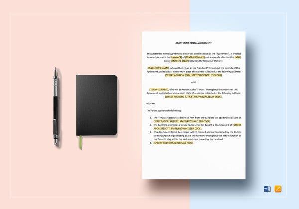 sample apartment rental agreement word template