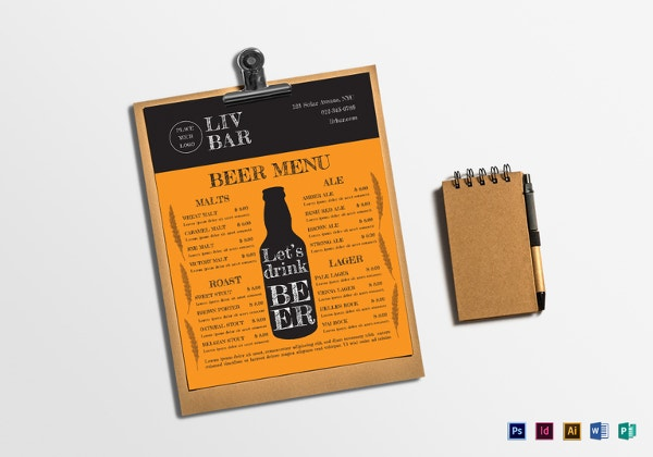 sample-beer-menu-template