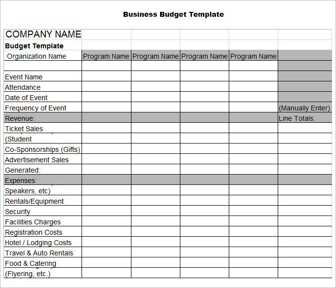 Free Business Plan Budget Template Excel