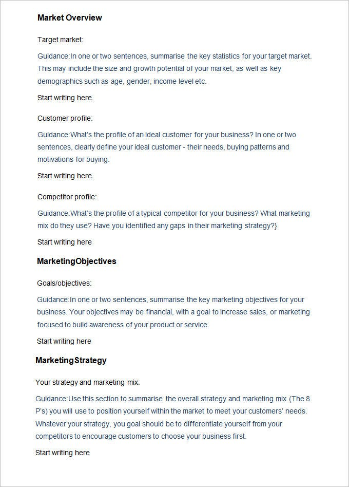 sample business marketing plan template