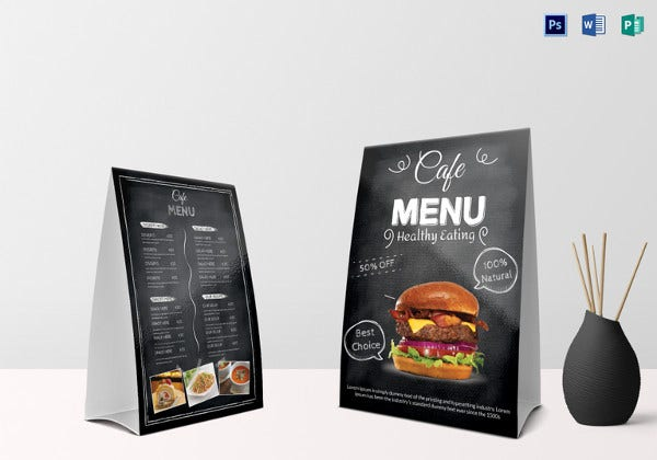 sample cafe menu table tent