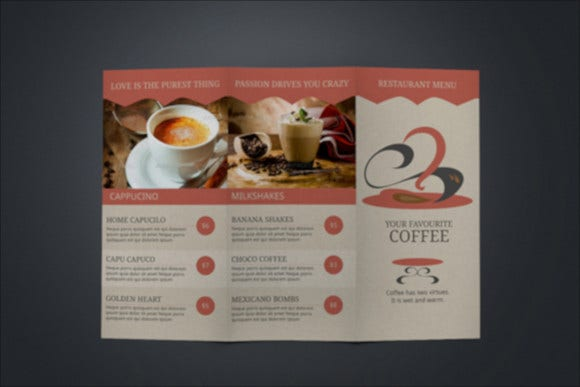 sample cafe menu template download