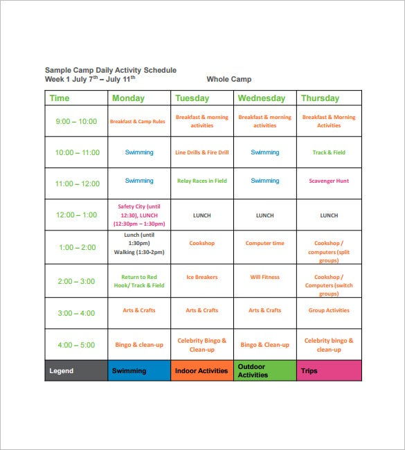 sample camp daily activity schedule template