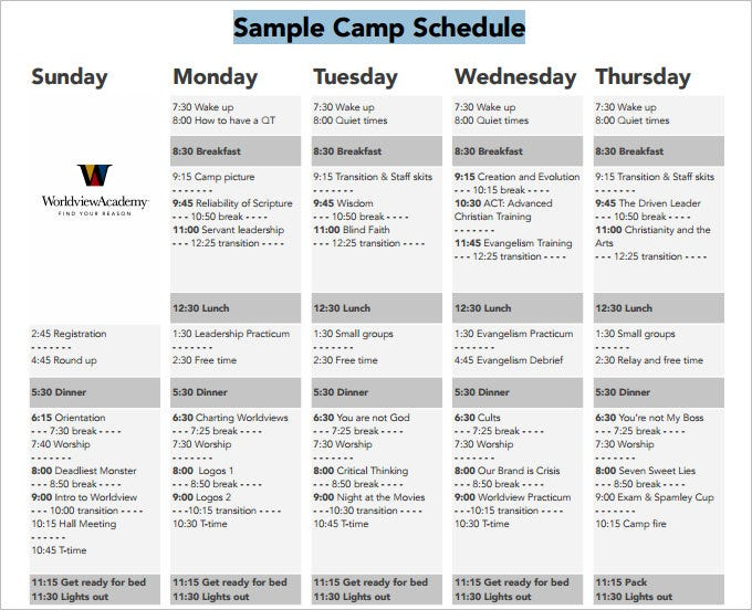 Camp Schedule Templates - 5 Free PDF Documents Download