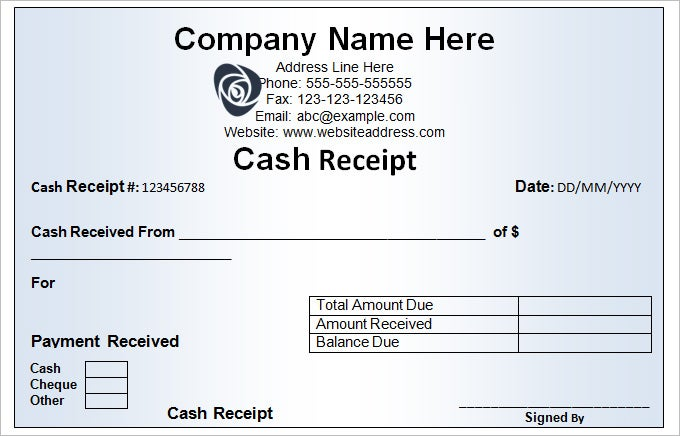 sample cash receipt template