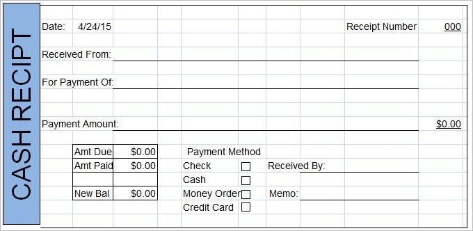 Sample Cash Receipt Template  Cash Recepit