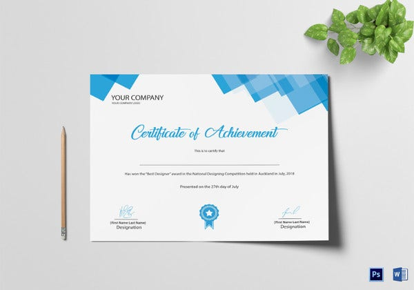 sample certificate of achievement template