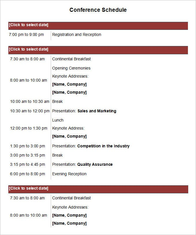 Sample Conference Schedule Template | Conference Schedule Template