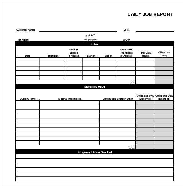 Exceptional Sample Daily Job Report Download
