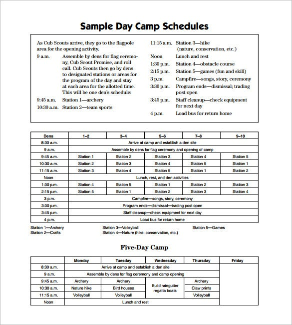sample day camp schedule template