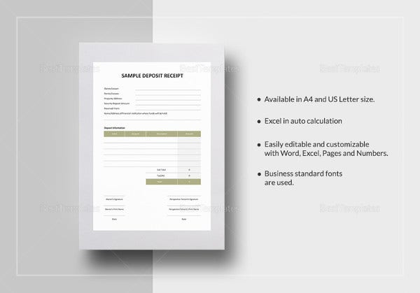 sample deposit receipt template