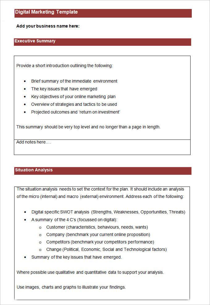 digital marketing strategy template   trattorialeondoro