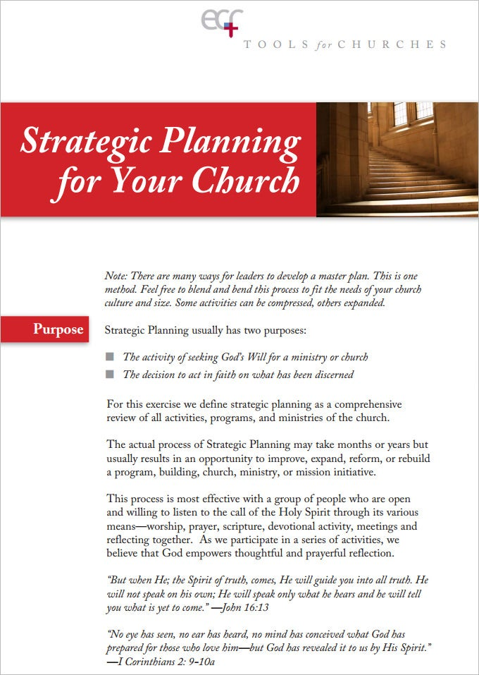 sample example church strategic plan template