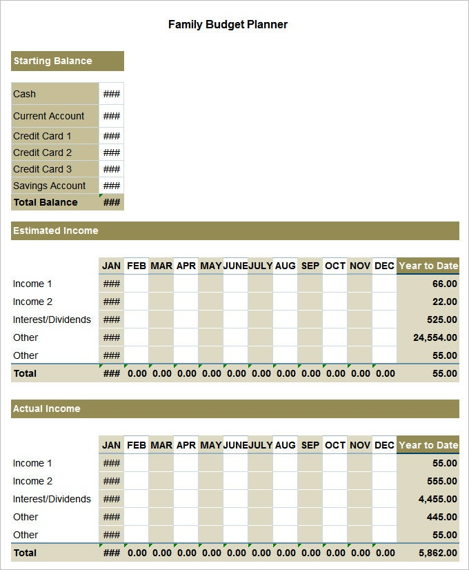Family Budget Template - 5+ Free Word, Excel Documents Download