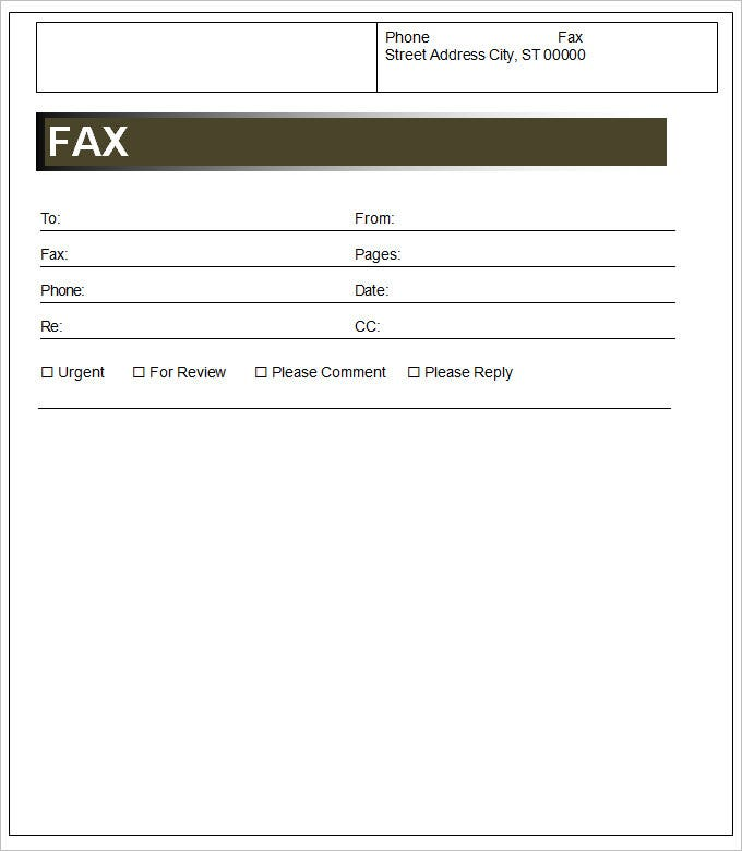 Sample Fax Cover Sheet Templaate