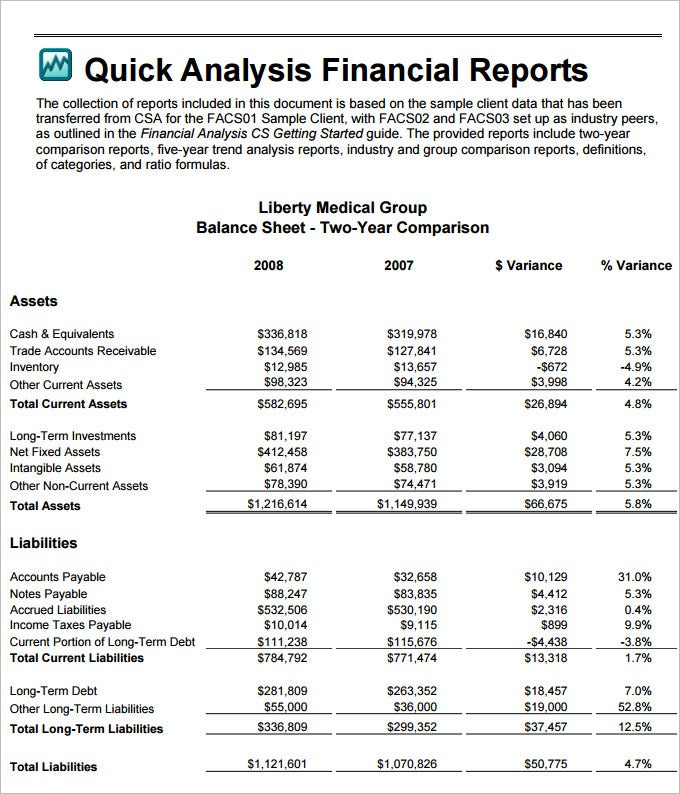 financial analysis template word