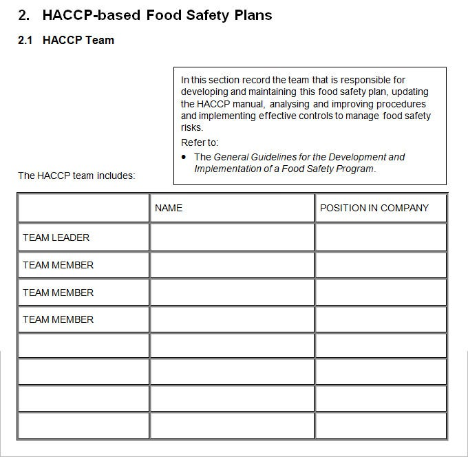 sample food saftey plan template