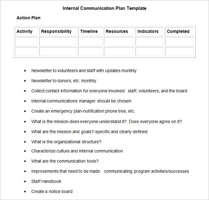 Internal Communication Plan Template   Fee Word Pdf Documents