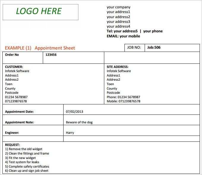 Job Sheet Template - Free Excel, PDF, Documents Downloads
