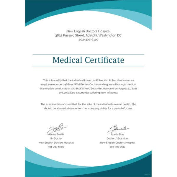sample medical certificate from doctor template