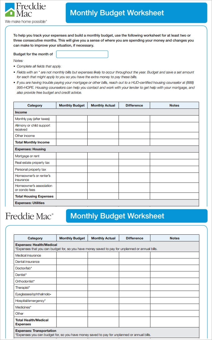 7+ Monthly Budget Template - Free Word, Excel, Pdf Format Download