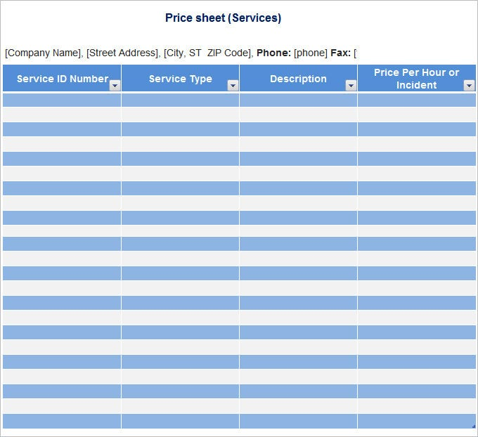 Price Sheet Template - Free Excel, Word Documents Download
