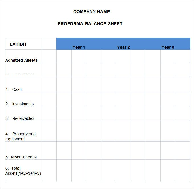 sample pro forma balance sheet template free download