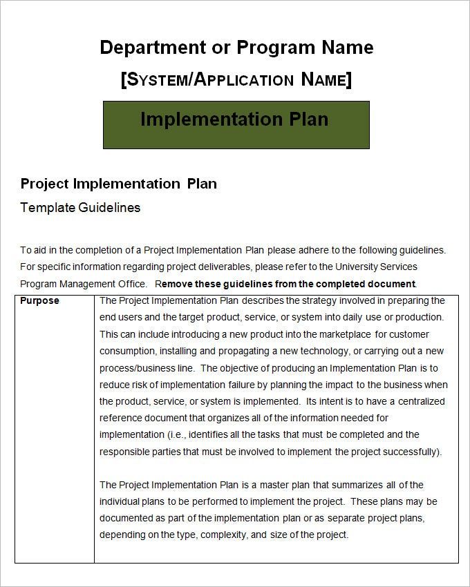 Project Implementation Plan Template - 5+ Free Word, Excel ...