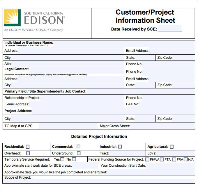 Sample Project Sheet Template Pdf Free Download