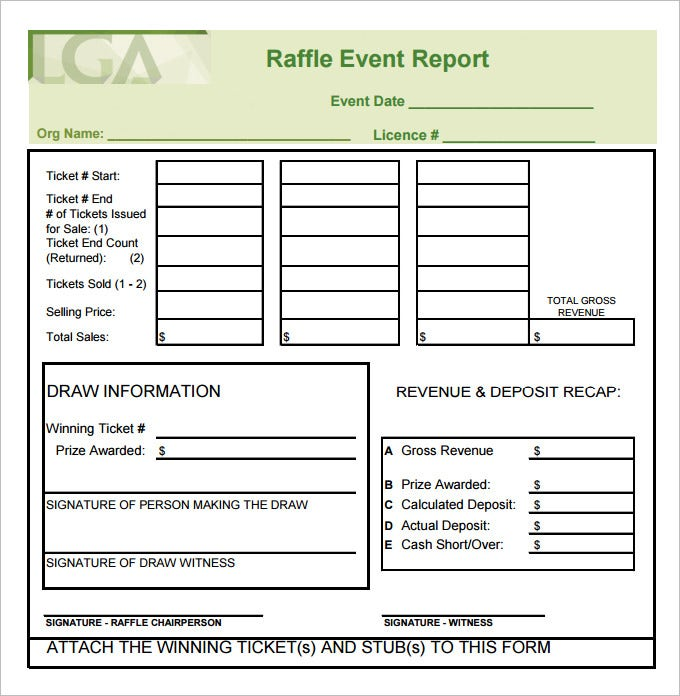 Sample Raffle Sheet Template Pdf Free Download  Free Raffle Templates