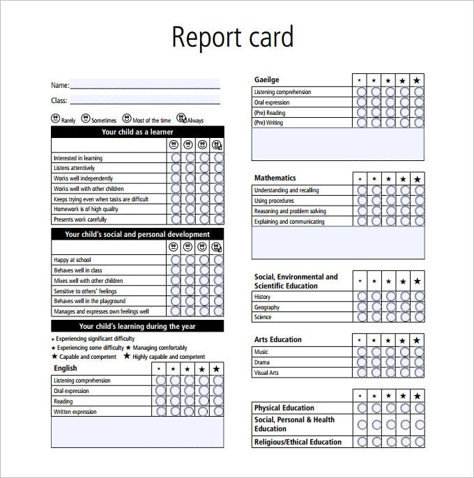 Great Sample Report Card Template PDF
