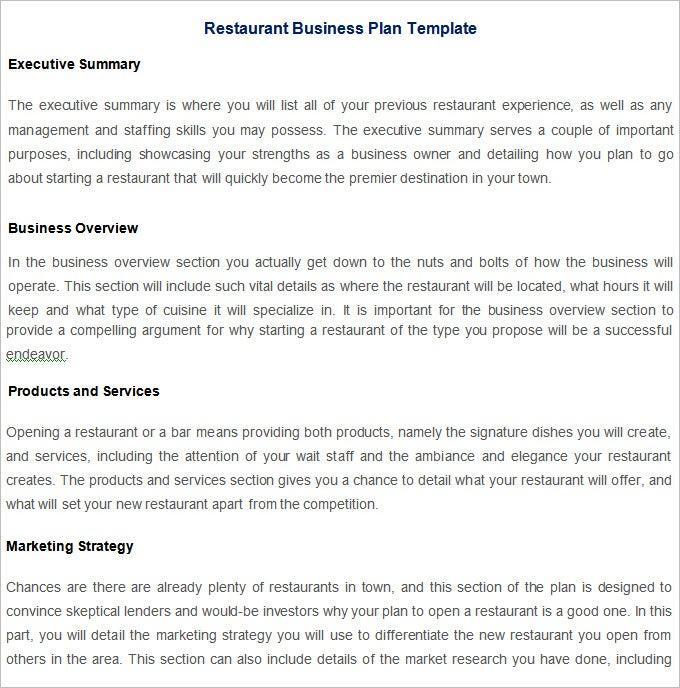 Restaurant Business Plan Template Free PDF Word Documents - Business plan template word free download