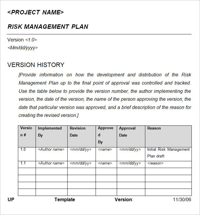 Risk Management Plan Free Word Documents Download – Risk Management Plan Example Template