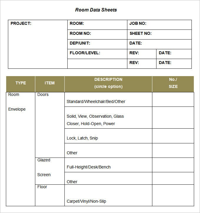 sample room data sheet template free download