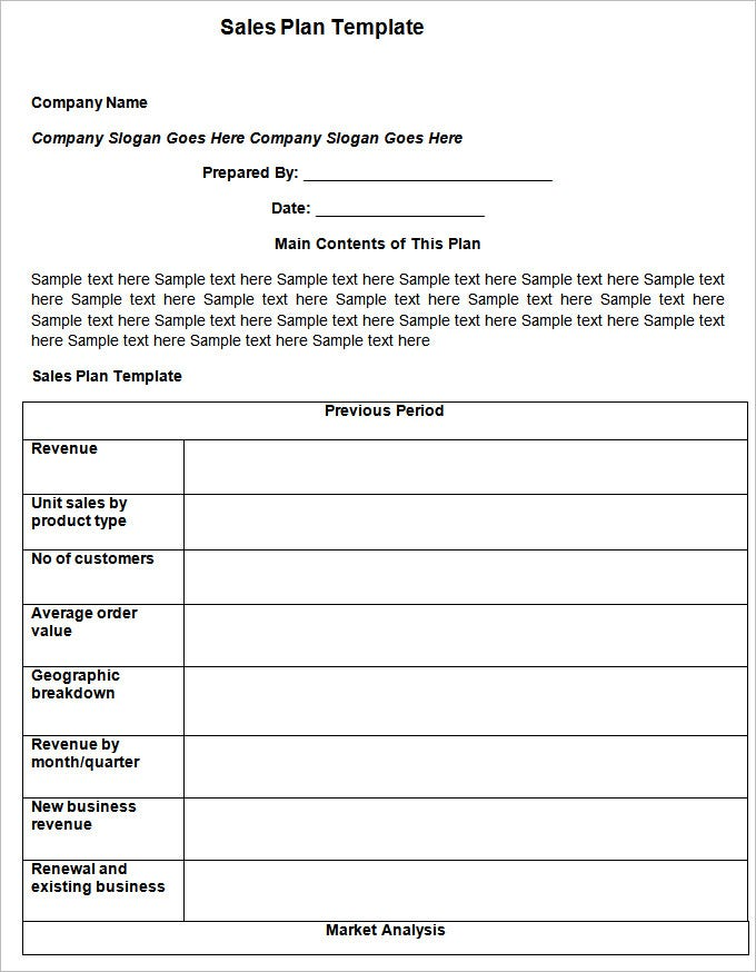 Student Action Plan Template Free Sales Plan Template  Smart