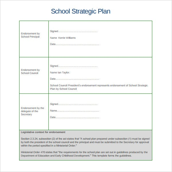 sample school strategic plan