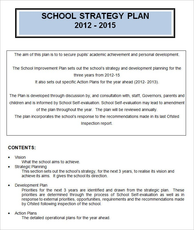 4 sample school strategic plan templates doc pdf for Creating a strategic plan template