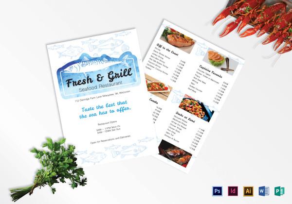 sample seafood menu template