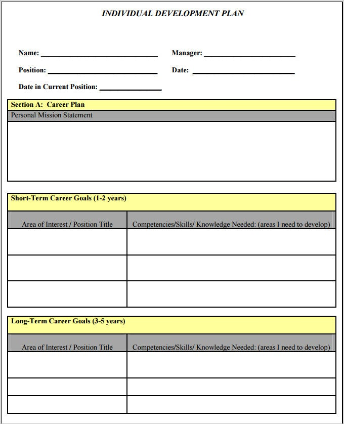 Sample Self Development Plan Template Download Pdf