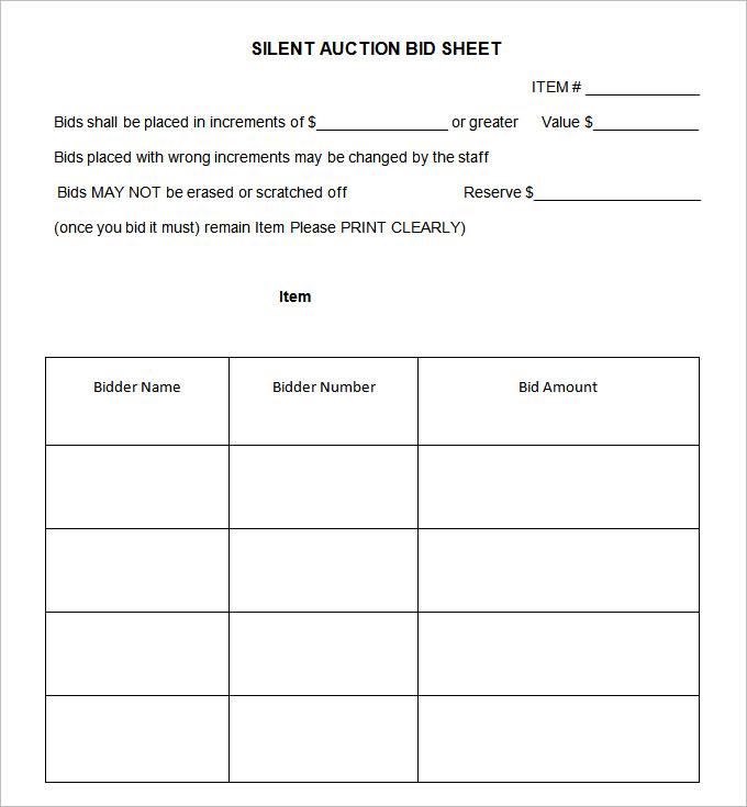 20+ Silent Auction Bid Sheet Templates & Samples - DOC ...  |Bid Sheet Template Pdf
