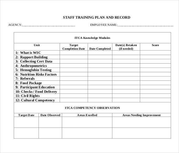 Sample Staff Training Plan