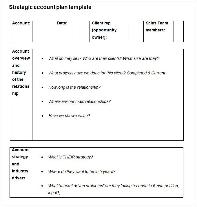 sales account plan template Strategic Account Plan Template - 8  Free Word, PDF Documents ...