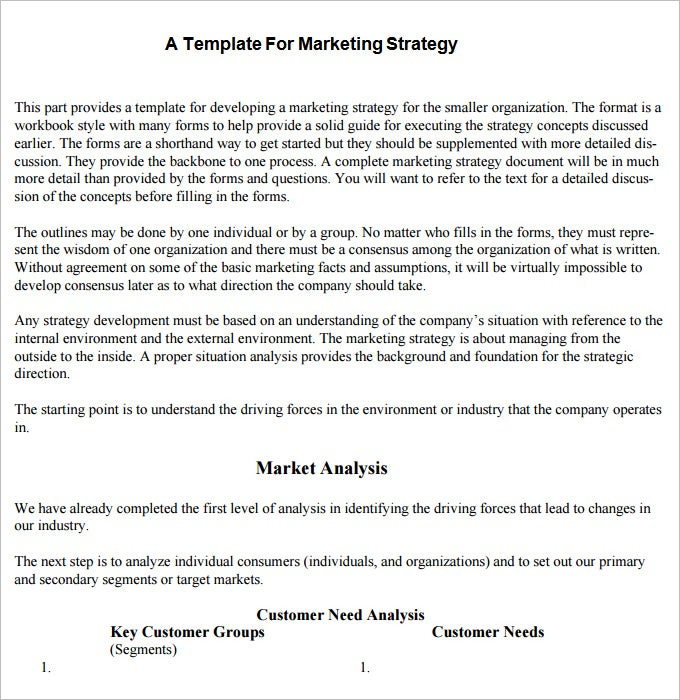 sample strategic marketing plan template download