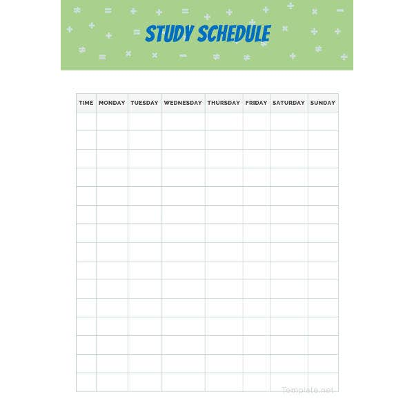 sample study schedule template