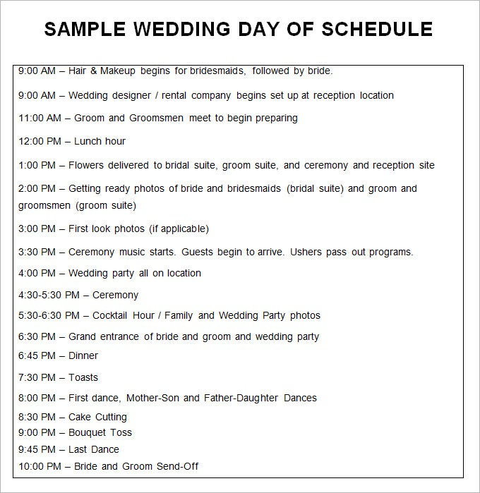 Sample Wedding Day Of Schedule Template Free