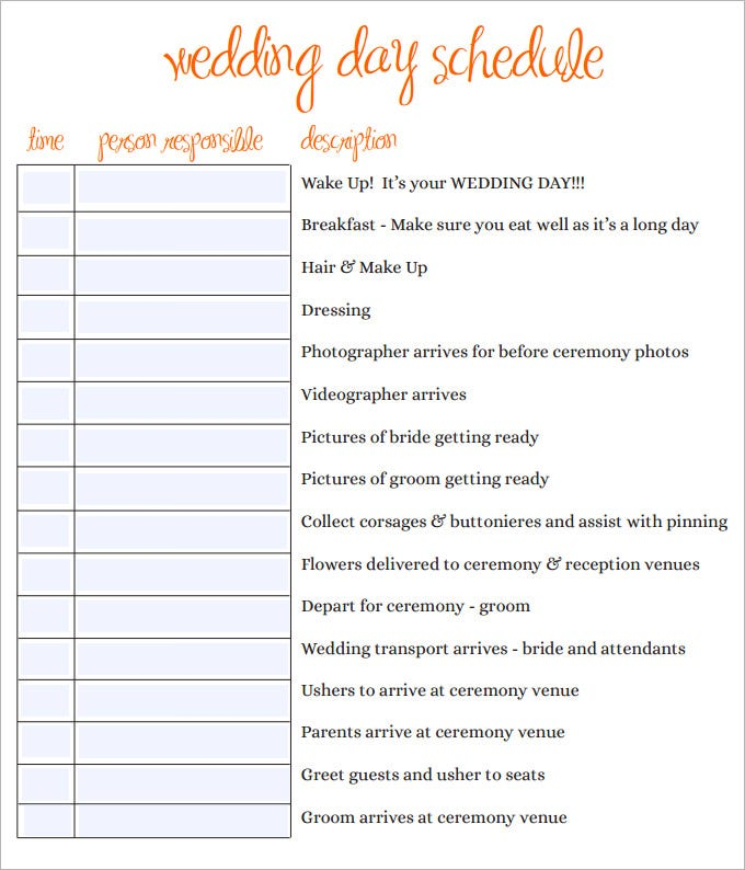 sample wedding day schedule template