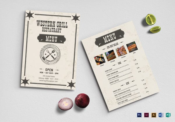 sample western grill restaurant menu