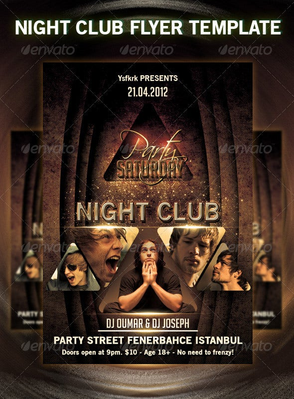 saturday night club flyer template